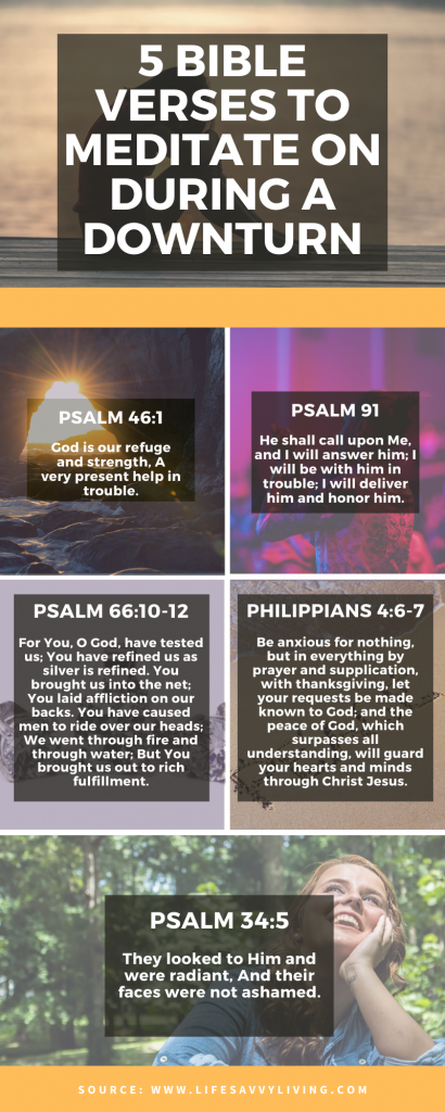 Infographic of 5 Bible Verses to meditate on During a Downturn